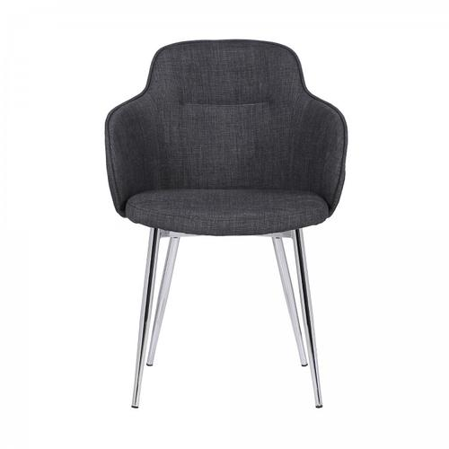 Tammy Contemporary Dining Chair in Chrome Brushed Finish and Charcoal Fabric