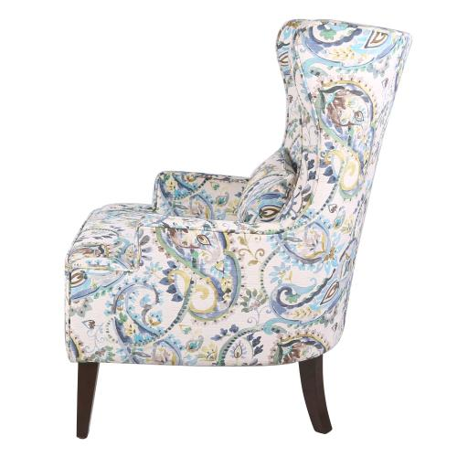 Clementine KD Fabric Wing Accent Arm Chair Wenge Legs, Mazarine Paisley