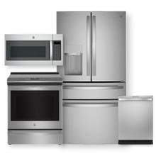 """See Details - GE Smart 27.9 cu. ft. French-Door Refrigerator & 30"""" Slide-In Induction and Convection Range- 4 Piece Package"""