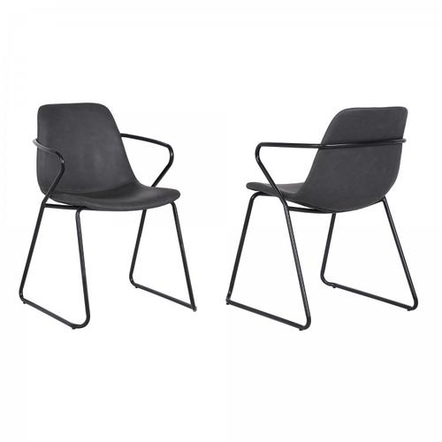 Armen Living - Colton Contemporary Dining Chair in Black Powder Coated Finish and Grey Faux Leather - Set of 2