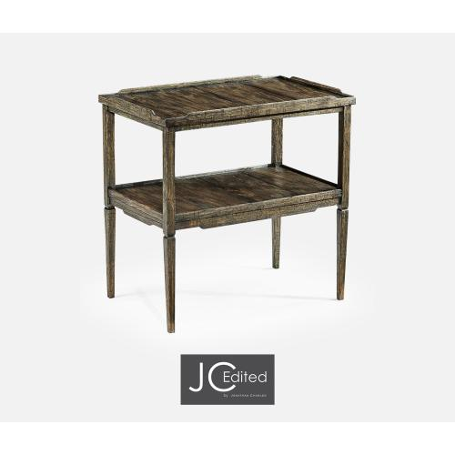 Rectangular Dark Driftwood Side Table with Rails & Undertier