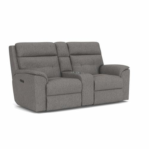 Flexsteel - Mason Power Reclining Loveseat with Console and Power Headrests