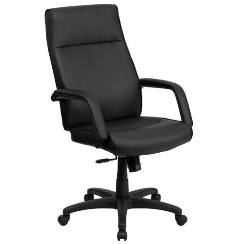 Gallery - High Back Black LeatherSoft Executive Swivel Ergonomic Office Chair with Memory Foam Padding and Arms