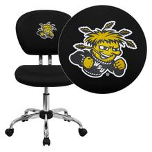 Wichita State University Shockers Embroidered Black Mesh Task Chair with Chrome Base