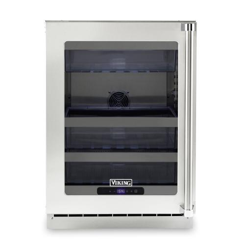 """24""""W. Stainless Steel Interior Undercounter Refrigeration - VURE Viking Professional Product Line"""