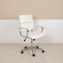 Mid-Back White LeatherSoft Contemporary Panel Executive Swivel Office Chair