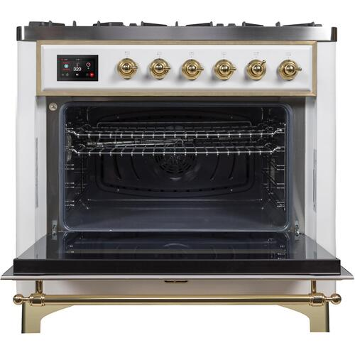 Majestic II 36 Inch Dual Fuel Natural Gas Freestanding Range in White with Brass Trim