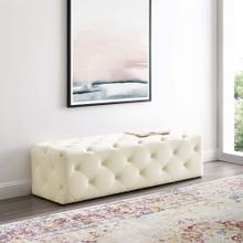 "Amour 60"" Tufted Button Entryway Performance Velvet Bench in Ivory"