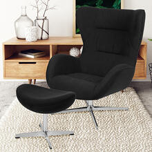 Black Fabric Swivel Wing Chair and Ottoman Set