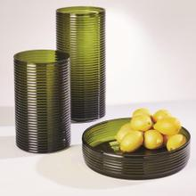 Ribbed Glass Low Compote Bowl-Olive
