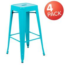 "30"" High Metal Indoor Bar Stool in Teal - Stackable Set of 4"