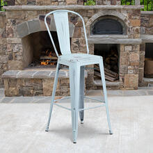 "Commercial Grade 30"" High Distressed Green-Blue Metal Indoor-Outdoor Barstool with Back"
