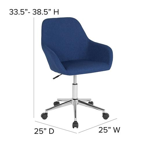 Gallery - Cortana Home and Office Mid-Back Chair in Blue Fabric