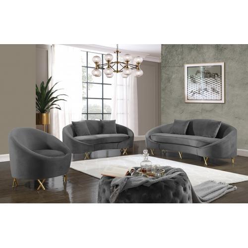 """Serpentine Velvet Chair - 34.5"""" W x 38"""" D x 33"""" H"""