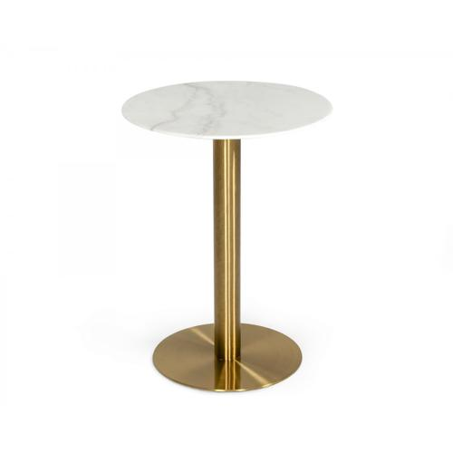 Modrest Fairway - Glam White Marble and Brushed Gold Bar Table