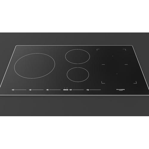 "36"" Induction Cooktop With Brushed Aluminum Trim - Black Glass"