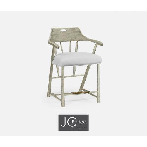 Smokers Style Rustic Grey Counter Stool, Upholstered in COM