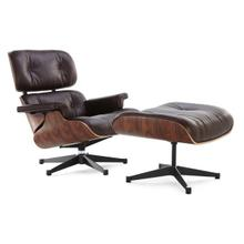 See Details - Eames Lounge Chair & Ottoman - Full Grain Italian Aniline Leather in Rosewood - Reproduction - Dark-brown