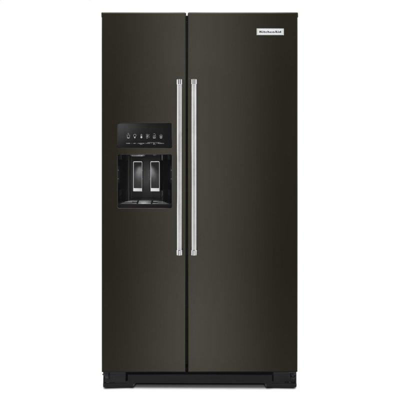 19.9 cu ft. Counter-Depth Side-by-Side Refrigerator with Exterior Ice and Water and PrintShield™ finish - Black Stainless Steel with PrintShield™ Finish