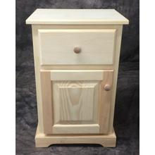 Maine Made Traditional 1 Drawer  Nightstand with Door 1 Drawer  Narrow Pine Unfinished