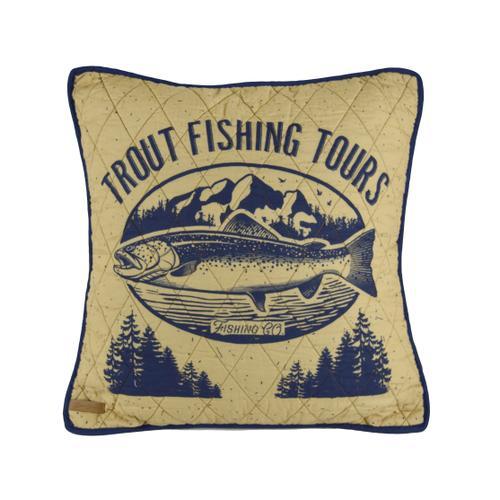 Lakehouse Trout Throw Pillow