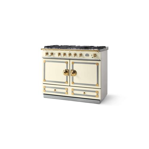 CornuFe 110 Dual Fuel Range -  Ivory with Stainless Steel and Polished Brass Trim