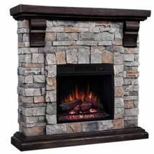 The Pioneer Compact Stacked Stone Electric Fireplace