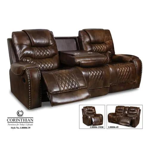 Corinthian Furniture - Leather Vintage Carmel Reclining Sofa & Loveseat