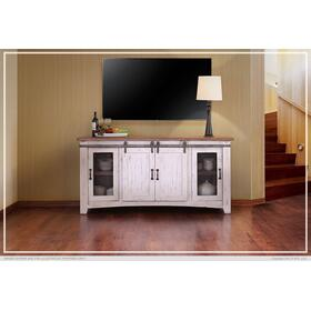 "70"" Pueblo TV Stand w/ 4 doors & Shelves White"