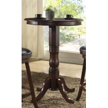 "E.C.I. 1266-35 Pub Table - Walnut, paired with SM029B T.E.I. 30"" Black Stools"