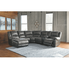 Nantahala - Slate - 2 Recliner Sectional with Left Facing Chaise and Consloe
