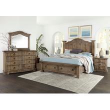 Queen Saddle Grey Storage Bed