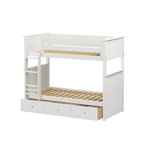 Jackpot Bristol Twin/Twin Bunk   Trundle Storage In White Finish
