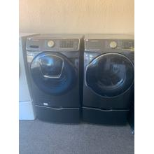 Refurbished Samsung GREY Washer Dryer Set On Pedestals. Please call store if you would like additional pictures. This set carries our 6 month warranty, MANUFACTURER WARRANTY AND REBATES ARE NOT VALID (Sold only as a set)