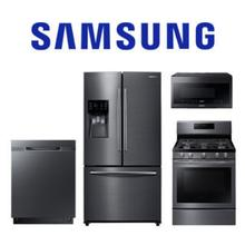 Samsung 4 Piece Black Stainless Kitchen Package. Price Valid Thru 2/3/21.