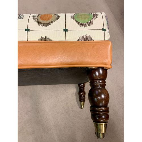 Product Image - Custom Rectangle Ottoman in Leather/Fabric Combo-Floor Sample-**DISCONTINUED**
