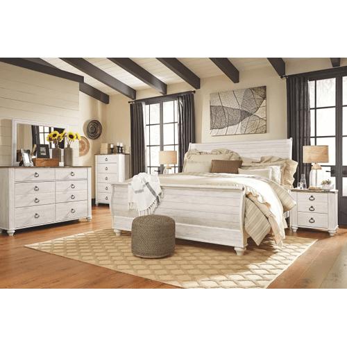 Willowton- Whitewash- Dresser, Mirror, Chest, Nightstand & King Sleigh Bed