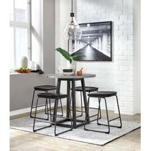 Showdell - Gray/Black - Round Counter Table and 4 Black Barstools