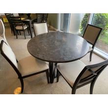 "Bassett Custom 48"" Blue Stone Table & 4 Side Chairs"