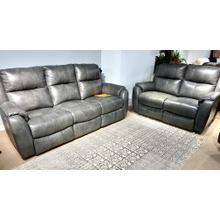 See Details - Valentino Granite Leather Power Sofa & Loveseat w/ PWR Headrest