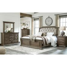 Wyndahl  Rustic Brown - 7 Pc. - Dresser, Mirror, Chest, Nightstand & Queen Upholstered Panel Bed
