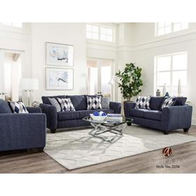 Denim Chenille Stationary Loveseat