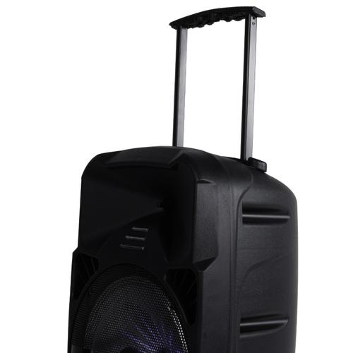 """Billboard 12"""" Rechargeable Bluetooth Party Speaker w/ RGB Lighting, AUX, TF, USB, FM Radio Playback, Wheel and Handle Combo for Easy Transport"""