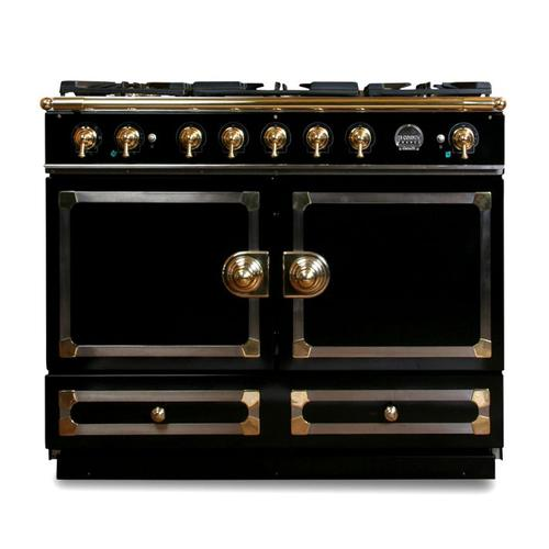 """CornuFe 110 cm Dual-Fuel Range (43"""")- Gloss Black w/ Satin Chrome & Polished Brass Trim"""