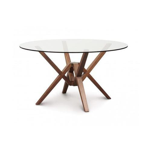 EXETER ROUND GLASS TOP TABLES IN WALNUT