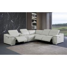 See Details - 9762 - Genuine Italian Leather - Light Gray 6-Piece Sectional (3 Power Reclining and Console)