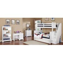Belfort Twin over Full Bunk Bed with Stairs and Waterford Collection - White