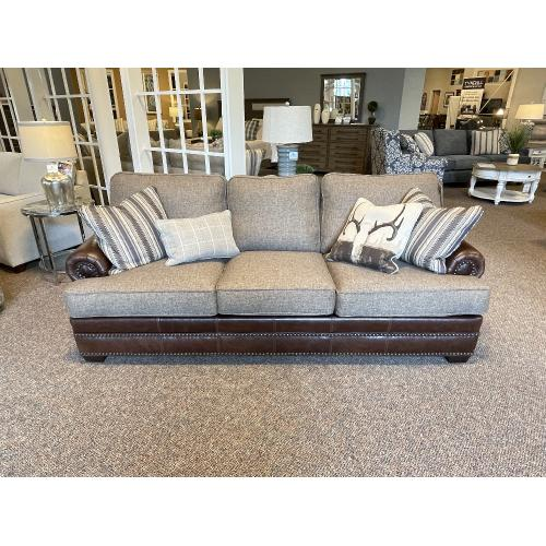 Mayo Furniture - LEATHER AND UPHOLSTERED FABRIC SOFA WITH ANTLER PILLOWS