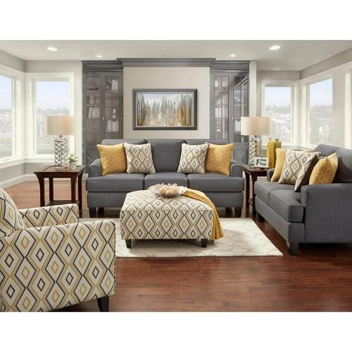 Stationary Accent Chair in Doozie Dijon Fabric