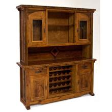 Mustang Canyon Hutch With Wine Rack and Curved Glass Doors